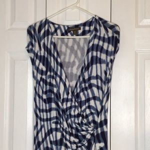 Tommy Bahama Blue and White Print Dress size large